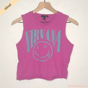 [F21] Purple Nirvana Graphic Cropped Muscle Tee